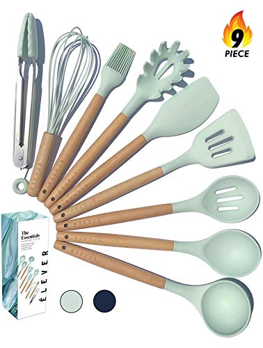 (Kitchen Utensil Set - 9 Cooking Utensils. Kitchen Gadgets for Nonstick Cookware Set. Kitchen Accessories, Silicone Spatula set, Serving Utensils. Best Silicone Kitchen Utensils Tools Gifts - ÉLEVER)