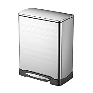 EKO 92615-1 Neo Cube 13.2 Gallon Stainless Steel Step Trash Can with Lid | 50 Liter Waste Bin