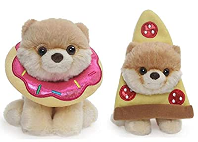 GUND Itty Bitty Boo 5 inch Plush Snacktime Bundle of 2, Donut Boo and Pizza Boo