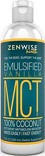 Emulsified MCT Oil - All Coconut Sourced Supplement for Weight Control & Clean Energy - Vanilla Flavored - With Caprylic C8 & Capric C10 Acid - Great for Coffee Drinks + Shakes & Smoothies - 12 FL (Lightning Energy Drink)