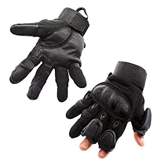 Mili-MIT Tactical Glove with Patented 3 Retractable Finger Technology- With  Carbon Fiber woven fafac7536d3