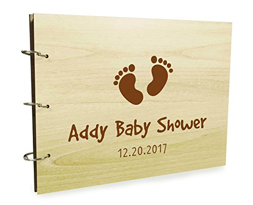 Personalized Baby Shower Guest Book, Baby Foot Prints Guestbook, Baby Shower Gift, Baby Shower Guestbook, Custom Wooden Scrapbook, Wooden Guest Book, Rustic Guestbook, Baby Shower Gift Idea. for $<!--$22.00-->