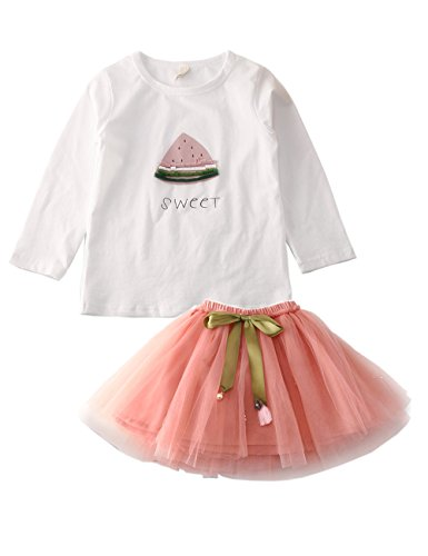 atermelon Pattern Top and Tulle Skirt Set Long Sleeve 2 Pieces Outfits Size 4-5 Years Pink (Pink Long Sleeve Skirt)