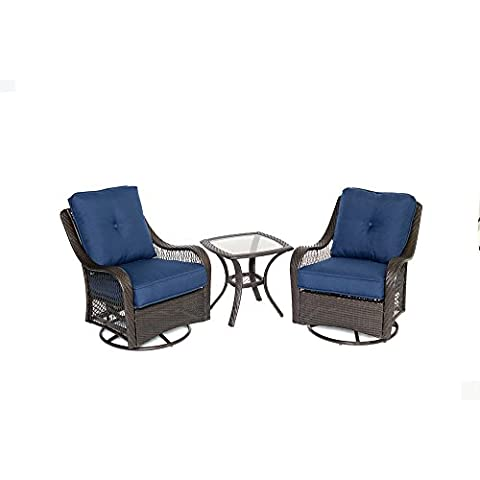 Hanover ORLEANS3PCSW-B-NVY Orleans 3 Piece Swivel Rocking Chat Set, Navy Blue - Orleans Patio Furniture
