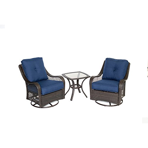 Hanover ORLEANS3PCSW-B-NVY Orleans 3 Piece Swivel Rocking Chat Set, Navy (3 Piece Swivel Rocker)