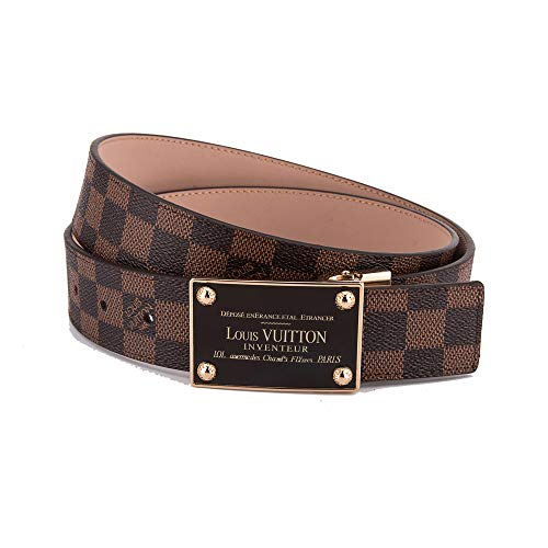 Trzok Fashion Belt Brown Belt with Square Golden belt buckle(115CM)