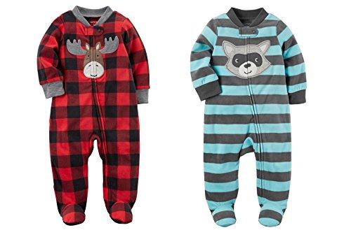 ndle Of 2 - Sleep and Play Fleece Sleeper Set (Newborn, Raccoon & Moose) (Moose Sleeper)