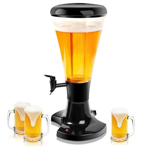 Cypresssop Cold Draft Beer Tower Dispenser 3 Liter Plastic Serve Liquor Beverage Beer Soda Fruit Juice Wine Iced Coffee Tea with LED Lights Dinning Bar