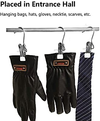 Laundry Hook Boot Hanging Hold Clips Portable Hanging Clothes Pins Hanging Hooks Stainless Steel Home Travel Hangers Multi-functional Heavy Duty Organizer Pants Shoes Towel Clip Black White-20 Pack