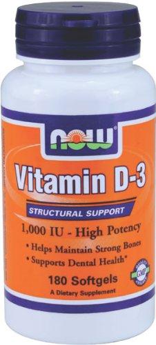 NOW Foods Vitamin D-3 1000 IU, 180 Softgels, Health Care Stuffs