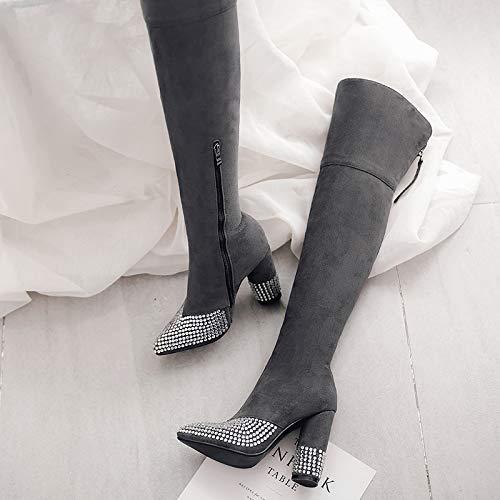 la gray a Zapatos de DEDE Moda para Rodilla Botas Mujer Botas Sandalette CUHqw