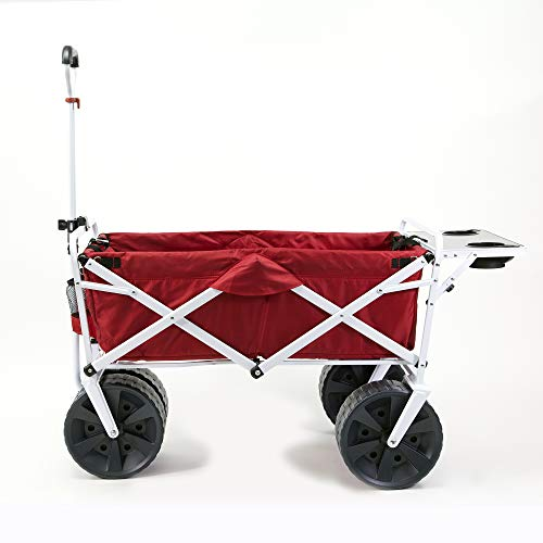 Mac Sports Heavy Duty Collapsible Folding All Terrain Utility Beach Wagon Cart (Red/White with Table)