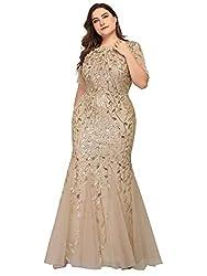Plus Size Embroidery & Sequins Gold Colour Maxi Dress
