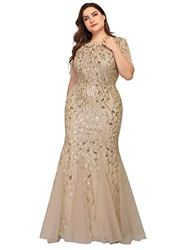 Women's Embroidered Prom Dress Long Formal Evening Party Ball Gowns Plus Size Gold US22