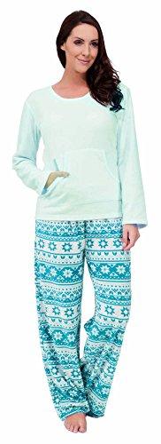 Mujer Suave Microfleece Manga Larga Diseño Fairisle Conjunto Pijama ~ GB 8 - 18 Azul Claro