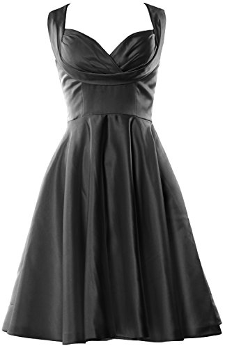 Sweetheart Schwarz Wedding Women length Fitted Party MACloth Knee Bridesmaid Dress RPOET