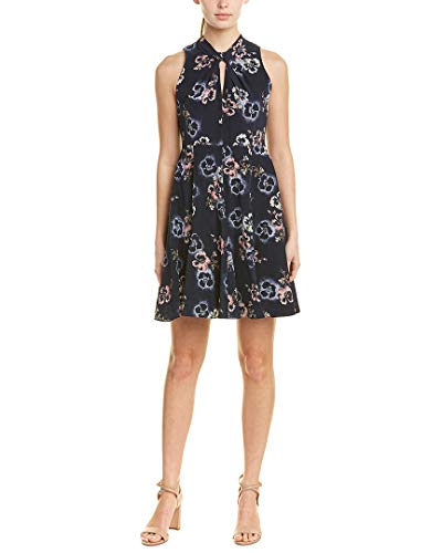 Rebecca Taylor Womens Faded Knot Silk A-Line Dress, 00 Navy (949 00)