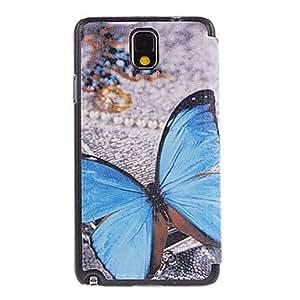 MOFY-Blue Butterfly Drawing patr-n PU cuero Cara de pl‡stico duro de la contraportada bolsas para Samsung Galaxy Nota 3 N9000