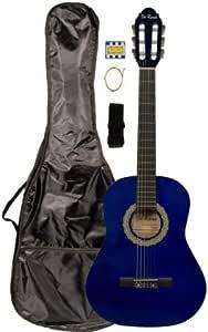 "36"" Inch 3/4 Blue Student Beginner Classical Nylon String Guitar and Carryying Bag, Strap, & DirectlyCheap(TM) Translucent Blue Medium Guitar Pick (PRO-K Series)"