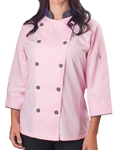 Womens ¾ Sleeve Active Chef Coat, Pink with Slate Accent, (Chef Pink)