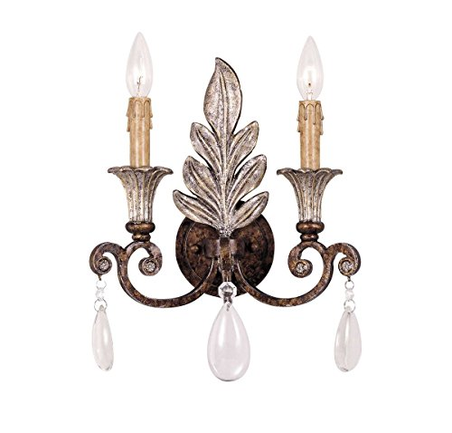 Savoy House Lighting 9-3010-2-8 St. Laurence Collection 2-Light Wall Sconce, New Tortoise Shell with Sliver Finish with Clear Crystal