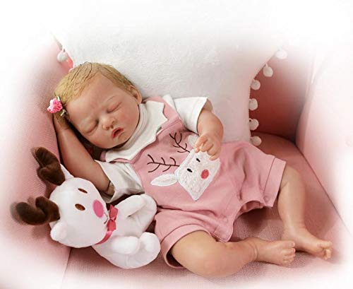 "Icradle OOAK Reborn Baby Doll, Sleeping Girl ""elk"" Newborn with blonde Hair, 20 inches 50cm Soft Silicone & Vinyl Doll Weighted Cloth Body Filled Glass Beads, Gift Box Package, Gift for Girl Age 3+"