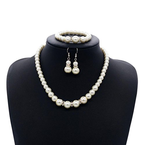 Clearance! Tloowy Elegant Faux Pearl Jewelry Set for Women Stunning Bracelet & Drop Earrings & Bracelet Set for Party Casual (B)