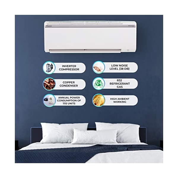 Daikin 1.8 Ton 4 Star Inverter Split AC (Copper, PM 2.5 Filter, 2020 Model, FTKP60TV, White) 2021 August Split AC with inverter compressor: Variable speed compressor which adjusts power depending on heat load. It is most energy efficient and has lowest-noise operation 1.8 Ton Energy Rating: 4 Star: , Annual Energy Consumption (as per energy label): 1115 units, ISEER Value: 4.17