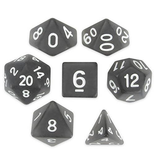 Wiz Dice Penumbra Set of 7 Polyhedral Dice, Semi-Translucent Matte Finish Dark Gray Tabletop RPG Dice with Clear Display Box