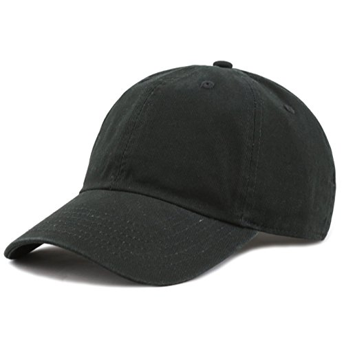 Black Toddler Denim Boys - The Hat Depot Kids Washed Low Profile Cotton and Denim Baseball Cap (Black)