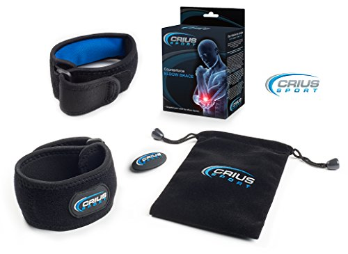 Crius Sport Therapeutic Elbow Support Brace with Gel Pad, 2 Count | Tendonitis Pain Relief for Tennis & Golf Elbow or Overuse | Plus Bonus E Book, Carry Bag & Racket Dampener  (Large)