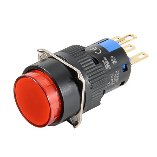 24v 16 Led Mm (uxcell Momentary Push Button Switch 16mm Mounting Diameter SPDT 1NO 1NC Round Red Head with 24V Red LED Light)
