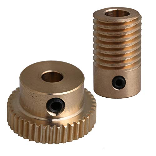 CNBTR 0.5 Modulus Brass Worm Gear Set with 5mm Hole 40 Teeth Turbine Reducer 6mm Screw Reducer