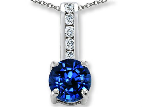 Created Sapphire Pendant (Star K Round 7mm Created Sapphire Pendant Necklace Sterling Silver)