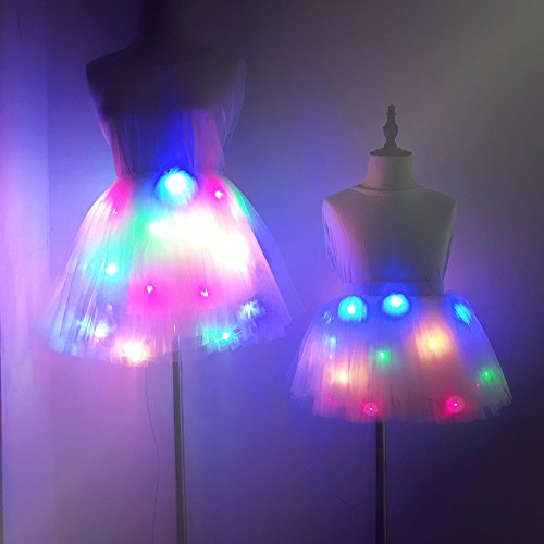 Geek3c Kids Light Up Tutu Skirts, Ballet Skirt Dance Short Cute Net Yarn for Birthday Party Gift Present Frozen Crown (Multicolor (2~4Years)) by Geek3c (Image #1)