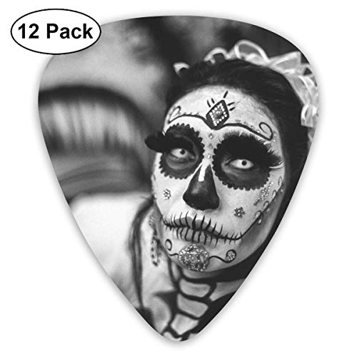 Anticso Custom Guitar Picks, Halloween Greyscale of The Dead Corpse Bride Guitar Pick,Jewelry Gift For Guitar Lover,12 -