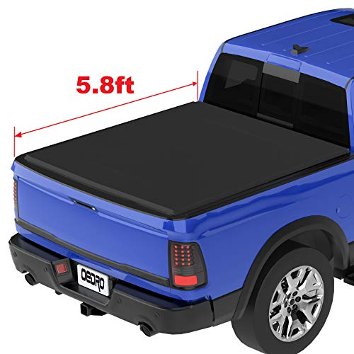 oEdRo TRI-FOLD Truck Bed Tonneau Cover Compatible with 2009-2019 Dodge Ram 1500 Without Ram Box (2019 Only Fits Classic) | Fleetside 5.8 Feet Bed