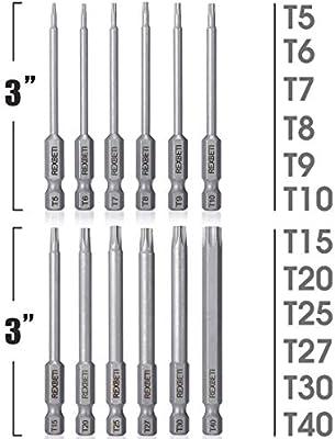 HAIKUSOUBI Torx Head Screwdriver Bit Set 1//4 Inch Magnetic Hex Shank 3 Inch Long Drill Bits,12pcs Tamper Resistant Star Bits Set S2 Steel T5 T6 T7 T8 T9 T10 T15 T20 T25 T27 T30 T40
