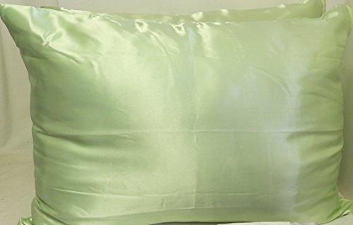 Satin Zippered (2 Pack Light Green Satin Zippered Pillow Case Protector Standard Size 20