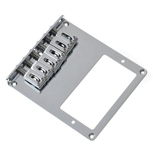 Kmise A1598 1 Pack Square 6 Saddle Bridge Chrome for Tele Humbucker Replacement