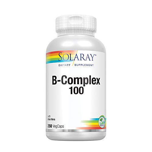 (Solaray® Vitamin B-Complex 100 | Supports Healthy Hair & Skin, Immune System Function, Blood Cell Formation & Energy Metabolism | 250 VegCaps)