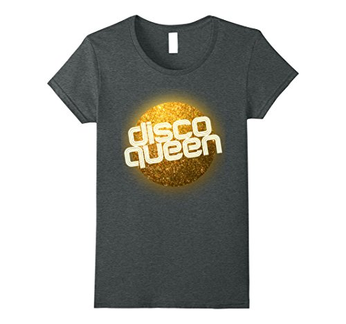 Womens Disco Queen T Shirt - Retro 70's Seventies Retro Disco Ball Medium Dark Heather