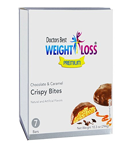 Doctors Best Weight Loss Premium - High Protein Diet Snack |Chocolate Caramel| High in Fiber, Low Calorie, Sugar Free (7/Bars) by Doctors Best Weight Loss