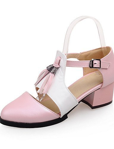 Pink Shoes Black Women's Purple Blue ShangYi Pink Sandals Heel Low Leatherette Casual Toe Round S15Oxqw5C