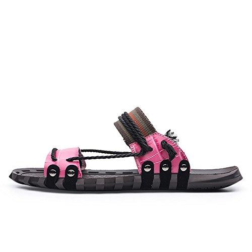 Cuero Cuerda de de Zapatillas Antideslizantes la Playa Suaves Sandalias Ligero Cáñamo Hombres de de de Zapatillas Rosado del Genuino Planas los gYtTxqgwA