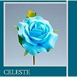 "Set 36 pezzi, Bomboniera fiore bouquet ""CAMELIA"" CM 11x4,5 (CK5088) (CELESTE)"
