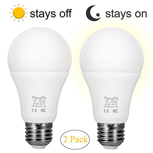 Sensor Lights Bulb Dusk to Dawn LED Light Bulbs Smart Lighting Lamp 7W E26/E27 Automatic On/Off, Indoor/Outdoor Yard Porch Patio Garage Garden (Warm White, 2 Pack) by Vgogfly
