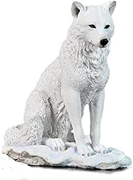 7.75 Inch Wolf Sitting in Snow Decorative Statue Figurine, White