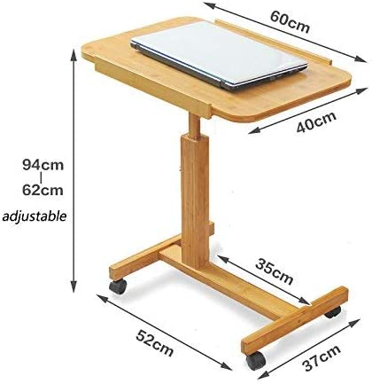 Wood Color MEI Computer armoires Folding Computer Table Height Adjustable Laptop Table for Bed and Sofa Portable Lap Desk Size : 60x40cm