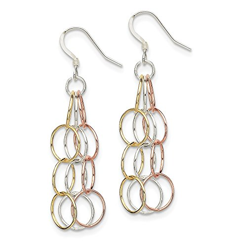 Sterling Silver Tri-colored Vermeil Polished Dangle Earrings
